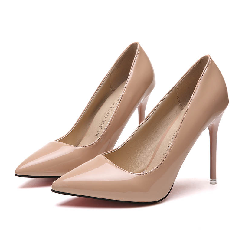 19 HOT Women Shoes Pointed Toe Pumps Patent Leather Dress High Heels Boat Shoes Wedding Shoes Zapatos Mujer Blue White 5