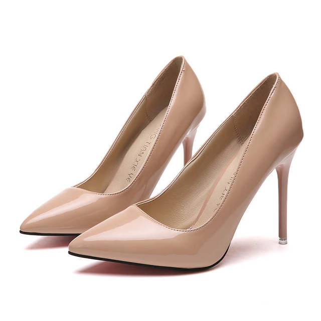 2019 HOT Women Shoes Pointed Toe Pumps Patent Leather Dress  High Heels Boat Shoes Wedding Shoes Zapatos Mujer Blue White 27