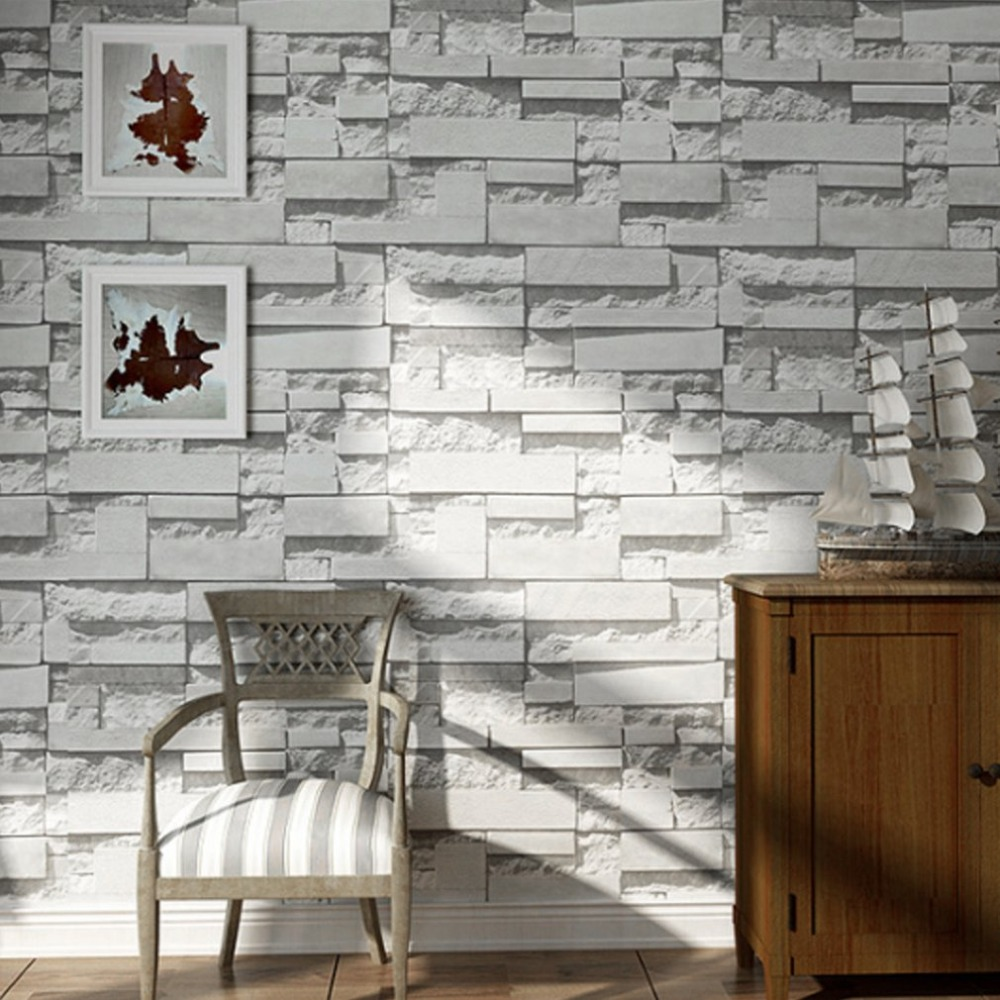 10M 3D Rustic Gray White Embossed Brick Effect Wall Paper Imitation Brick Pattern Wall Poster Wall Sticker Home Office Decor stylish compass pattern solid color wall sticker for home decor