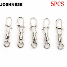 JOSHNESE 5PCS 2# 3# 4# 6# Ball Bearing Swivels Crane Duo Lock Snap Trolling Rigging Fishing Hook