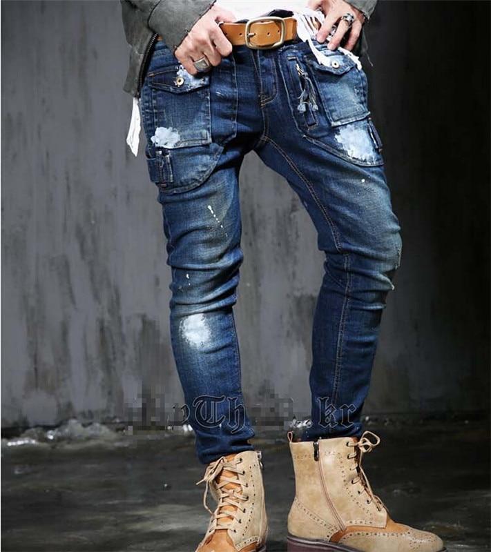 ФОТО 2016 men's dark blue jeans, Slim Medium waist patchwork white painting points zipper trousers denim pant