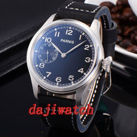 44 мм Parnis серый циферблат 17 камней ручной завод механические часы мужчины 6497 кожаный ремешок