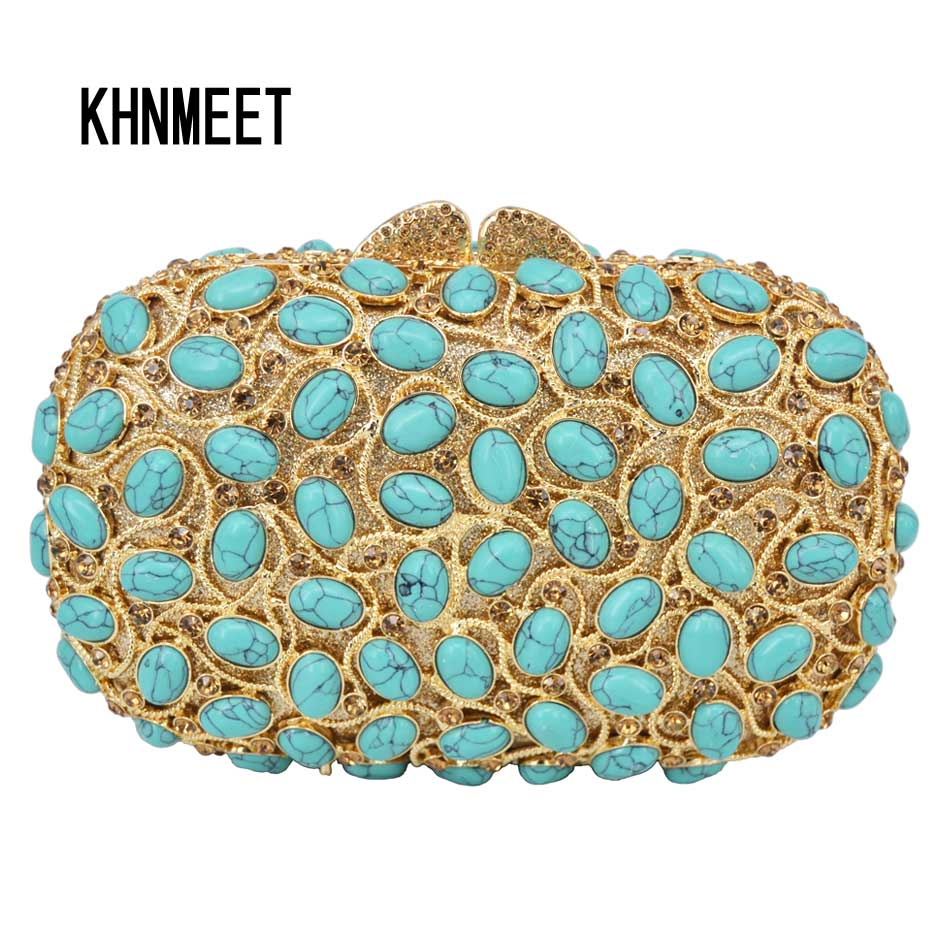Luxury turquoise Crystal Evening Bag Party Purse Women Wedding Bridal Bag Female pochette Prom banquet Bag Ladies Day Clutch