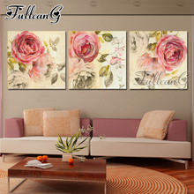 FULLCANG 3 piece diy diamond embroidery pink rose flowers triptych painting full square/round drill 5d mosaic pattern art FC660