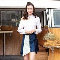 2019 summer new casual large size skirt women's irregular color contrast one piece denim women skirt