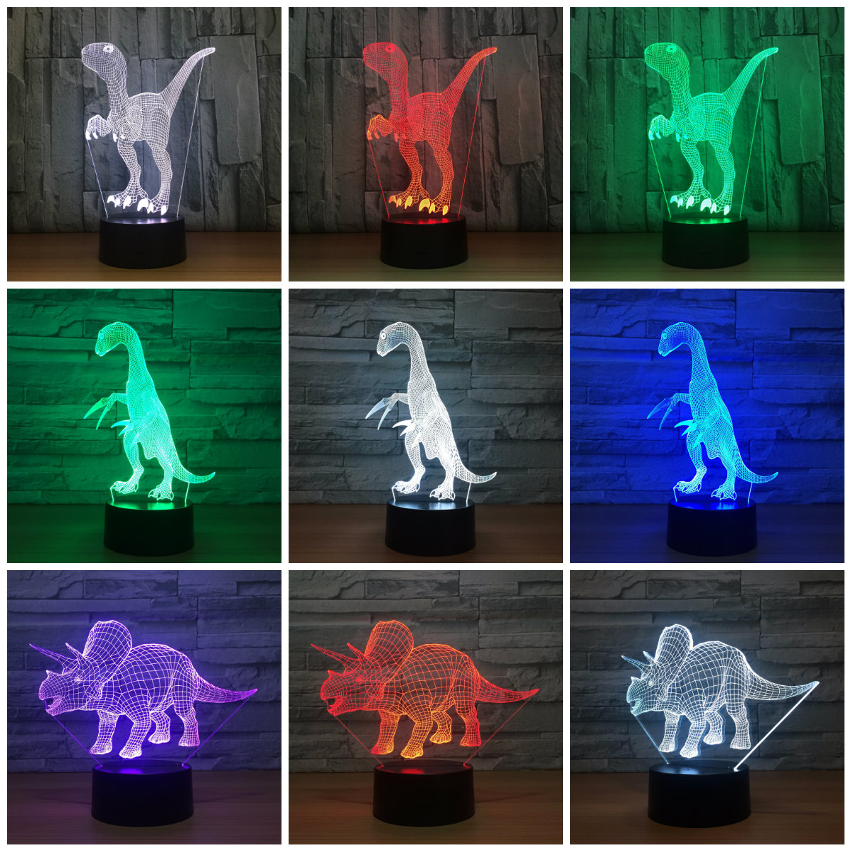 Novelty Touch Switch Desk Light Night Light Colorful USB LED Table Acrylic Lamp 3D Illusion Dinosaur For Home Decor IY803211 novelty 3d minions night light led table lamp touch desk lighting colorful for child baby gift birthday party bedroom home decor