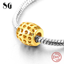 Silver Galaxy Gold Color Cross Love Heart Mark Beads For Women Fit pandora Bracelet Charms 925 Original Fashion Jewelry