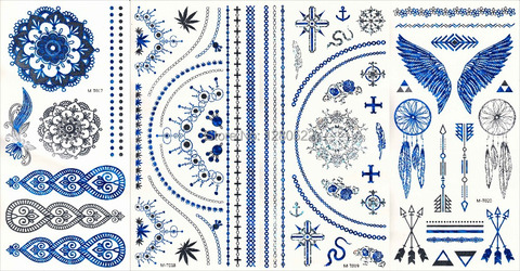 100 pcs lote tira azul metalico adesivo instantaneo metalico pena totem tatuagem temporaria body art