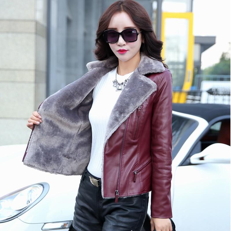 сгустите теплый кожаная куртка женщин зимняя куртка женская clothing 2017 плюс размер 5xl высокое качество европейский стиль марка куртка gq294