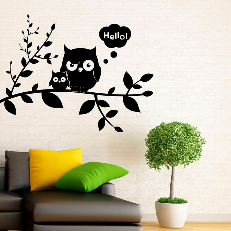 Colourful Patterned Owl Wall Art Vinyl Stickers Forest Woodland Night Bird Decal