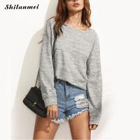 T Shirt Women 2017 Solid Grey Backless Long Sleeve Open Back T Shirt Casual Tee Tops