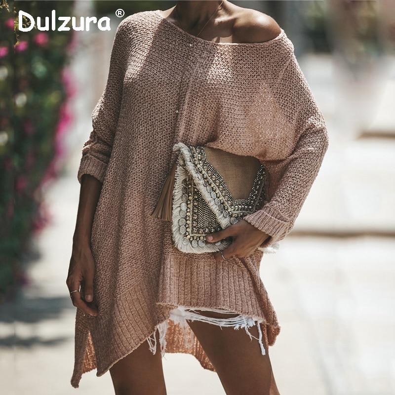 Румяна негабаритных женские свитера и пуловеры Ins модный Свободный вязаный свитер Женский Повседневный рукав летучая мышь Джемперы Сплит Pull Femme