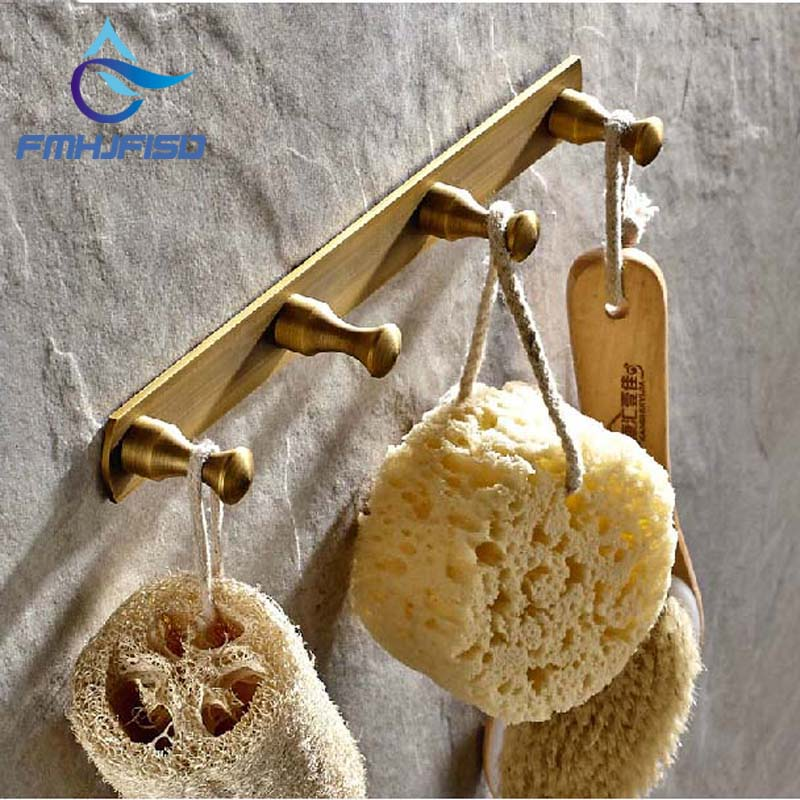 Free Shipping Wholesale And Retail Antique Brass Wall Mounted Bathroom Towel Hooks 4 Pegs Coat Hat