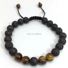 New Design High Quality tiger eyes Black Lava Stone Jewelry Sea Sediment Imperial Beads adjustable Energy Yoga Gift Bracelets