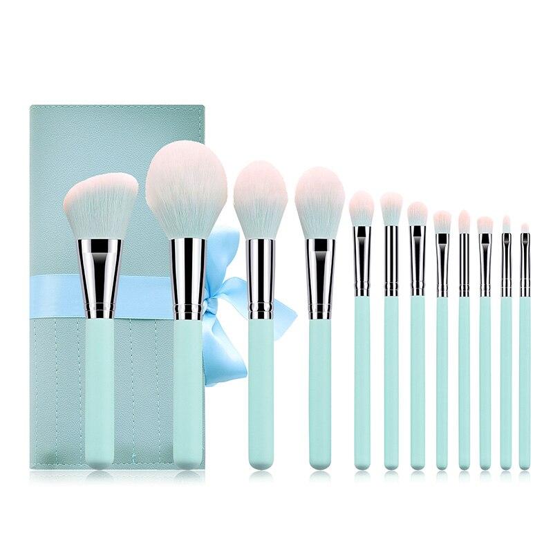 12 pcs pinceis de maquiagem conjunto azul 04