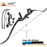 1 Set 60 Recurve Bow Draw Weight 35/40/45lbs Bow Archery Arrow Camping 5 pins Sight Arrow Rest Tack Drown Crossbow Shooting