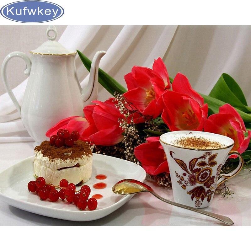 Поделки алмазов картина Кофе торт цветы украшение дома 5d diamond Вышивка рукоделие Алмазная мозаика кухня Наклейки на стену