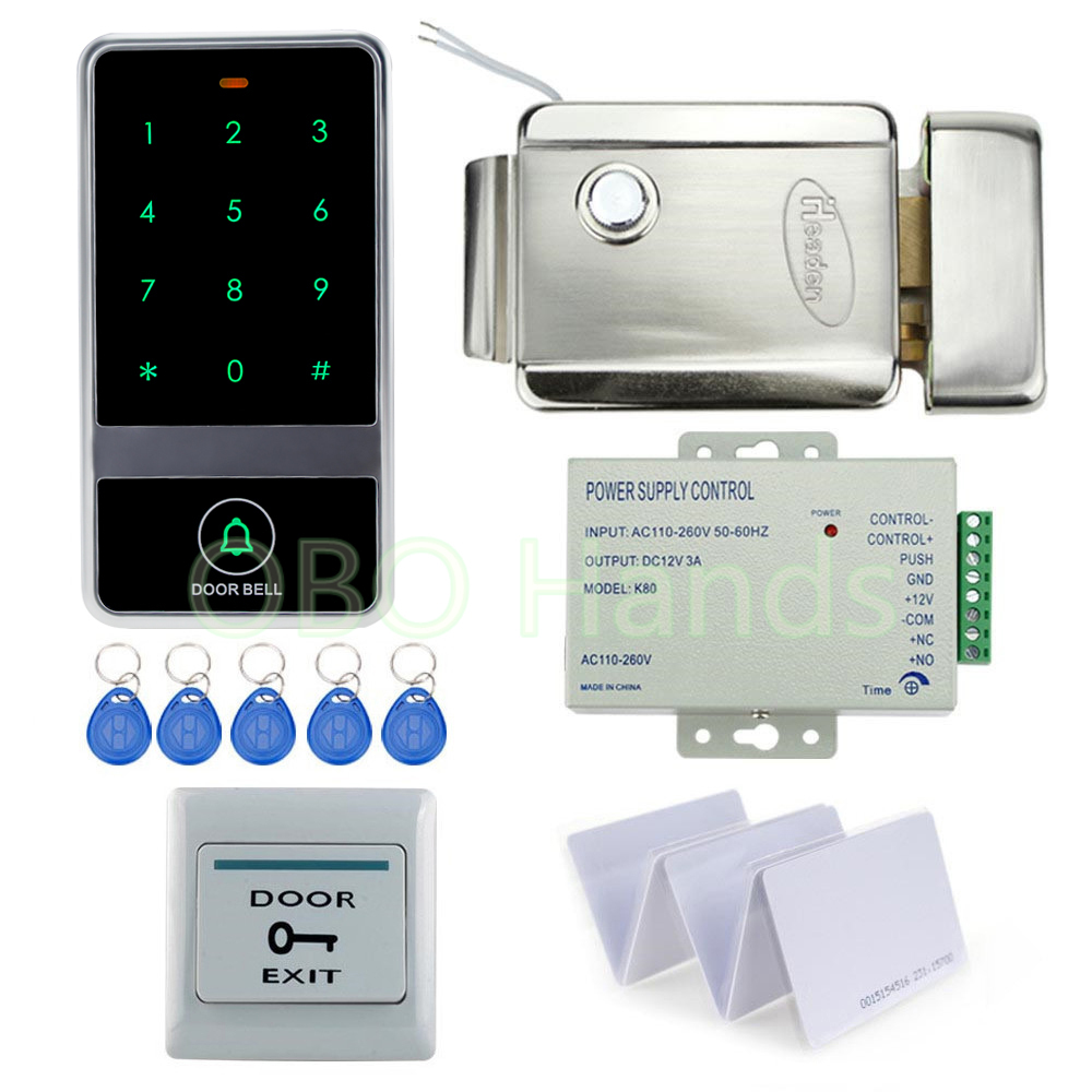 C60 Standalone EM Lock keypad Access controller with electric control lock DIY kit set for RFID Door Access control lock system 125khz rfid standalone access control keypad em card reader with 10 keychains door keyless lock for entry security system