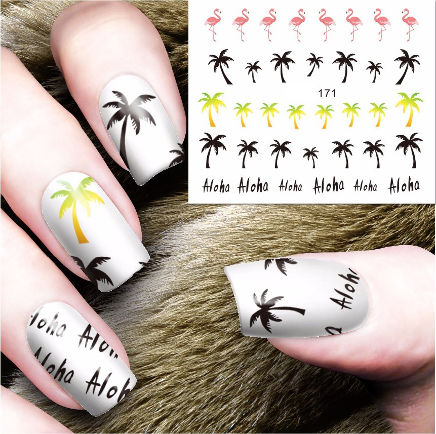 ⃝Water stickers for nails art decorations sliders flamingo tree ...