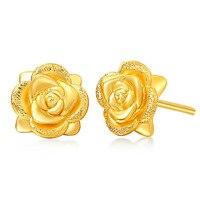 Real Solid 24K Yellow Gold Earrings Women's Rose Flower Stud Earrings