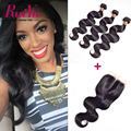 "Peruvian Virgin Hair Body Wave With Closure 3 Bundles With Closure 8""-24"" Best Peruvian Virgin Hair With Closure 100% Human hair"