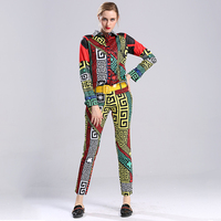 European American Women Fashion Vinatge Casual 2 Pieces Pants Set Long Sleeve Blouse Slim Trousers Runway