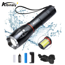 цена на Super bright bicycle light 6 lighting mode T6/L2+hidden COB design bike light waterproof zoom tail super magnet bike accessories