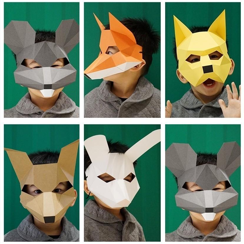 Kids Animal Helmet Masquerade Mask DIY Paper Handmade Craft Decoration Cosplay Halloween Costume Party Fun 3D Model Kits Puzzle