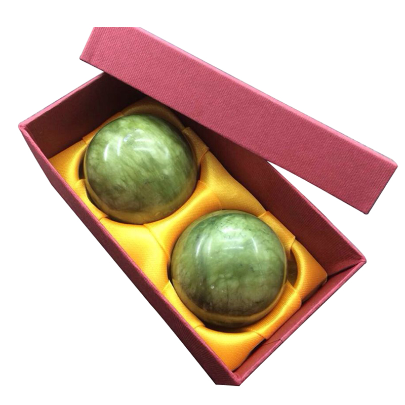 2X Marble Jade Baoding Chinese Health Stress Exercise Balls For Relaxation Relief Therapy Hand Care Tool metal stress relief spinner toy hand finger gyro