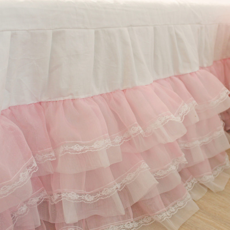 New dream romantic cake layers drop bedspread wedding decoration bedding princess bedroom bed sheet lace yarn skirt bedspreads