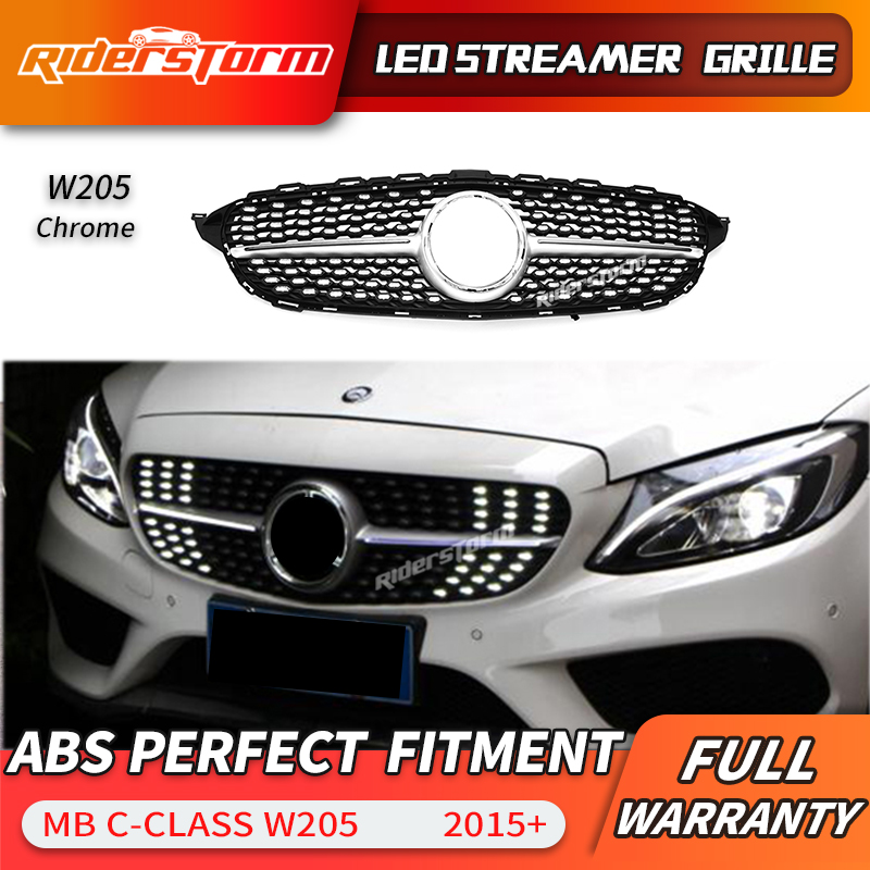 For C class W205 Led Grill Streamer Diamond Front Mesh Grille LED DRL grid For C180