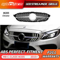 For C class W205 Led Grill Streamer Diamond Front Mesh Grille LED DRL grid For C180 C200 C250 C300 LED facelift front bumper