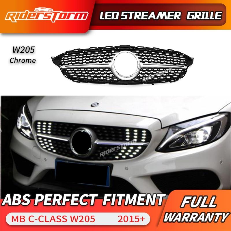 Para a classe C W205 Led Streamer Diamante Frente Malha Grill Grille LED DRL grade Para C180 C200 C250 C300 LEVOU facelift frente amortecedor