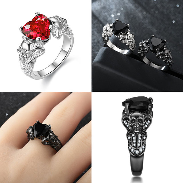 HEART CRYSTAL SKULL RINGS (6 VARIAN)