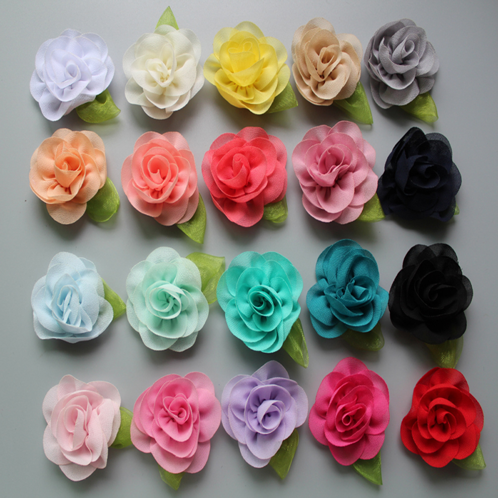 30ps/lot 2016 Rolled Rosette Chiffon Flowers With Leaf For Hs