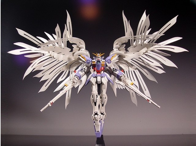 New MG Wing Gundam Action Figure MG028 Zero Wing Fighter Anime Robot 1:100 Model +Angel Wing 1