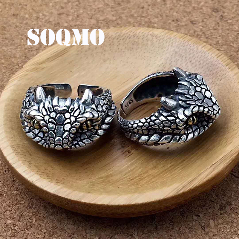 SOQMO Punk Opening Ring 100% Real 925 Sterling Silver Jewelry For Men Women Vintage Snake Adjustable Ring 2018 Arrival LOVE Gift bestlybuy vintage ring 100% real 925 sterling silver classic cross natural stone adjustable joint ring women men jewelry