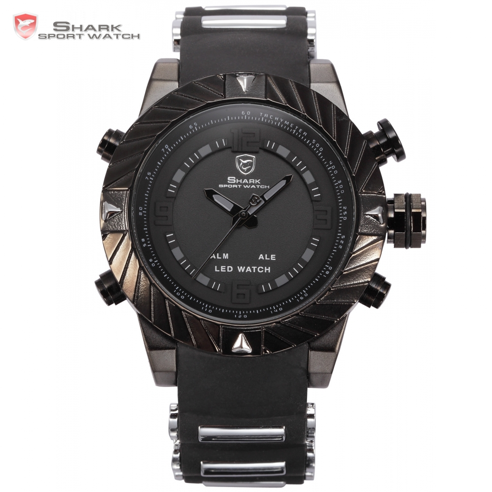 Goblin Shark Sport Watch 3D Logo Dual Movement Waterproof Full Black Analog Silicone Strap Fashion Men