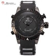 Goblin SHARK Reloj Deportivo Digital Negro Completo 3ATM Impermeable La Marca Fecha Alarma Carreras de silicona correa de reloj para los hombrews / SH165