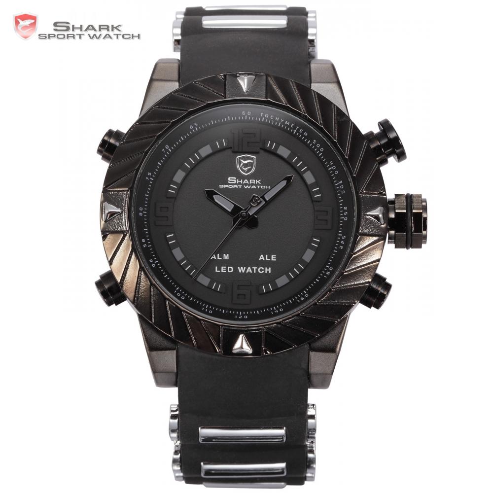 Prix pour Goblin shark sport montre 3d logo double mouvement étanche complet noir analogique bracelet en silicone de mode hommes casual montre-bracelet/sh165