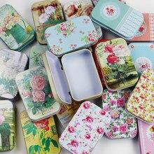 1PC Vintage Flower Printing Mini Tin Box for Jewelry Wedding Favor Metal Candy B