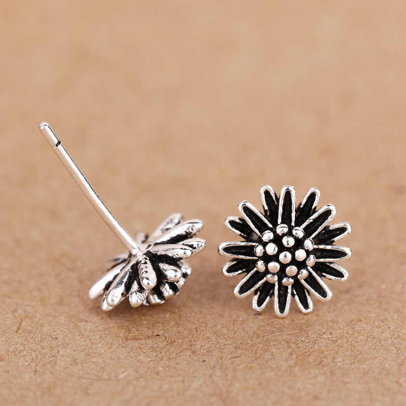 Hướng dương bông tai bạc sterling silver studs pendientes plata aros mujer oreja joyas de plata 925 stud bông tai boucle d oreille bộ