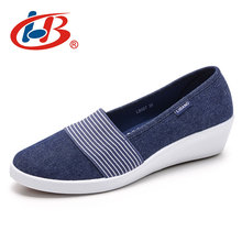 Купить с кэшбэком LIBANG 2018 High Canvas Shoes Comfortable Platform Shoes Women Thick Heels Wedgs Shallow Shoes Platform Wedges Female Footwear