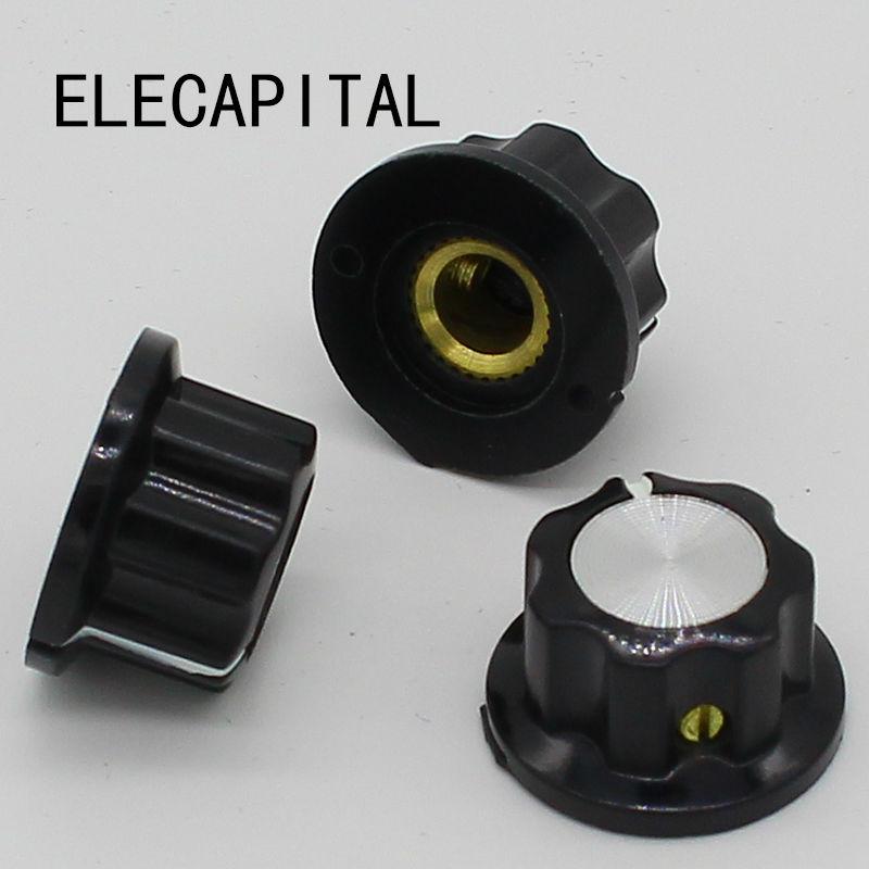 10pcs Bakelite Knob Rotary Pot Switch Skirt Knob, A01 D 20mm H 12mm Hole Diameter 6mm