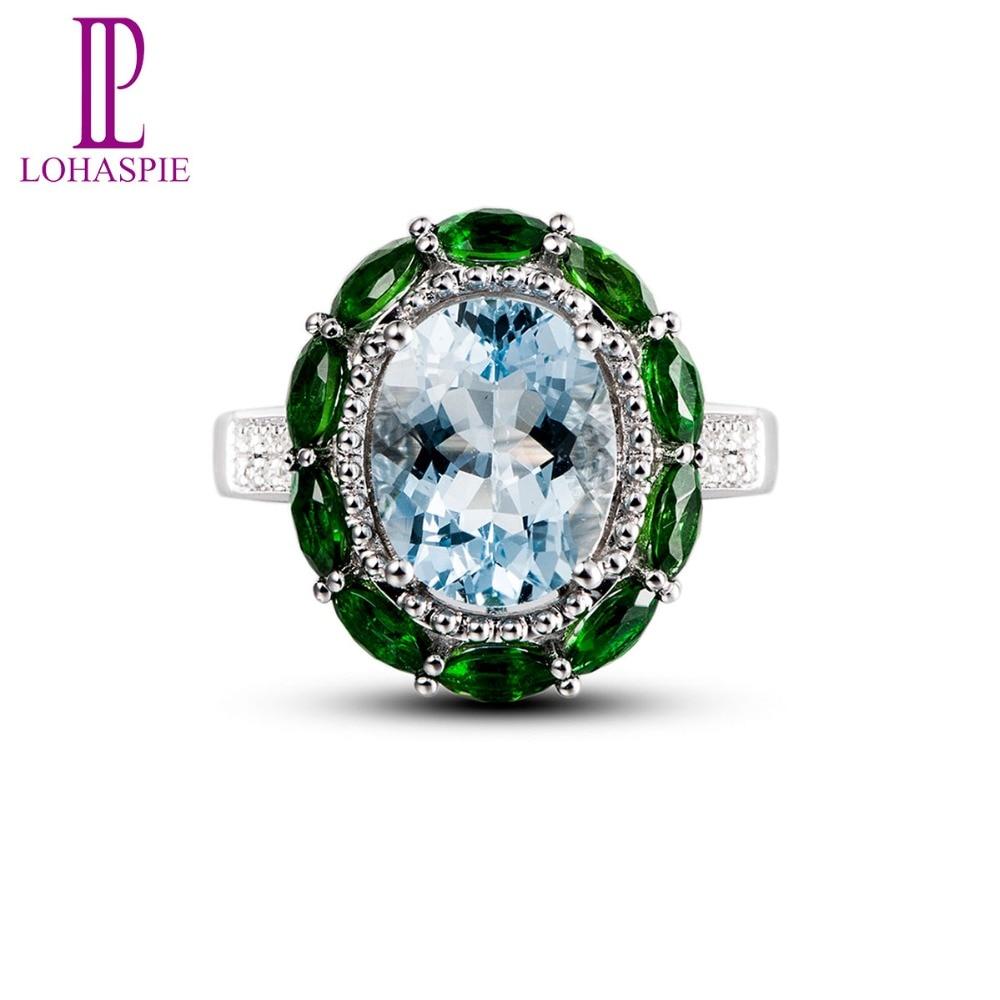 Lohaspie Real Gemstone Aquamarine & Diamond & Chrome Diopside Solid 18k White Gold Vintage Wedding Rings For Women Fine Jewelry