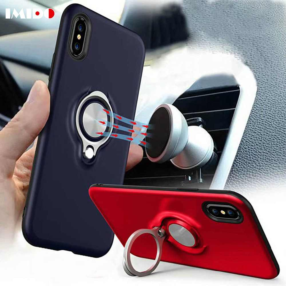 IMIDO Hide Ring Stand Holder Phone Case For iPhone X XS MAX XR 8 7 6 6S Plus Car Magnet Soft TPU Back Cover For iPhone 7 Coque