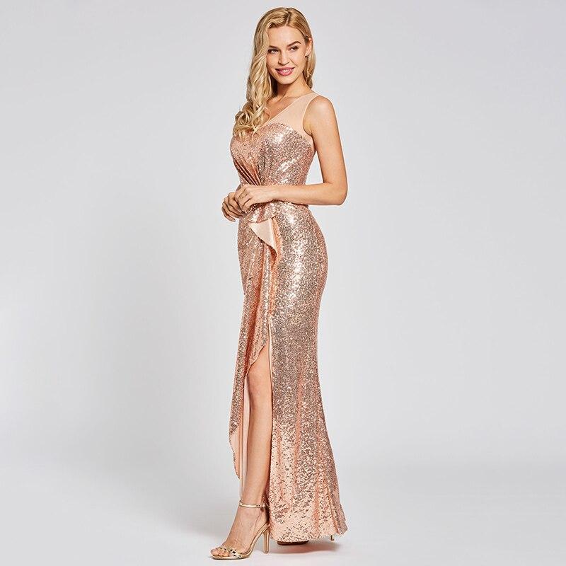 Купить платье с блестками tanpell presale вечернее платье шампань треугольным