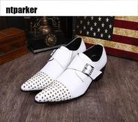 ntparker Italian Style Handmade Men Shoes Formal White Leather Wedding Man Shoes White High Heel Business Dress Men Shoes
