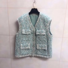 Spring autumn women's High quality sleeveless tweed jackets Brand new design pockets tweed coat A259