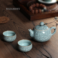 WIZAMONY 3 Piece Set Top Grade Chinese Longquan Celadon Di Kiln Handcrafted Gift Package Porcelain Kungfu Tea Set High Quality
